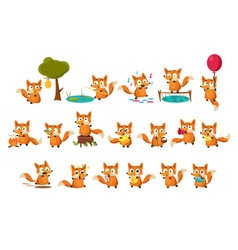 Cute fox cub character doing different activities vector