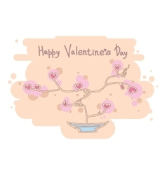 Cute heart tree Happy Valentines Day design vector image