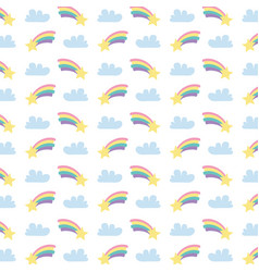 cute rainbows with clouds and stars pattern vector image