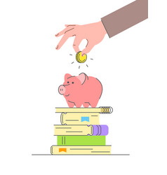 education savings concept with cute piggy bank vector image