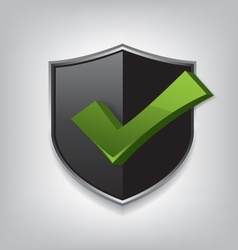 Empty black shield check mark vector image