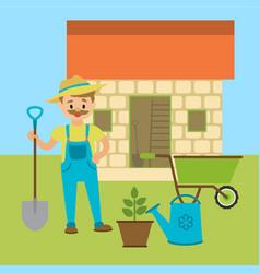 farmer with shovel or gardener vector image