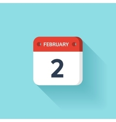 February 2 Isometric Calendar Icon With Shadow vector image