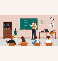 female character is teaching language at school vector image