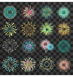 Festive Fireworks On Dark Transparent Background vector image