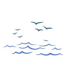 Flight birds over the ocean vector