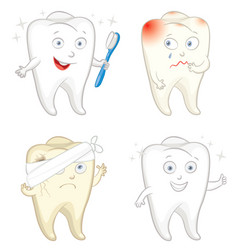 funny tooth with toothbrush caries toothache vector image