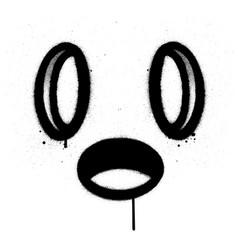 Graffiti square monster icon sprayed in black vector