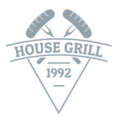 grill house logo simple gray style vector image