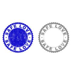 Grunge safe love scratched watermarks vector