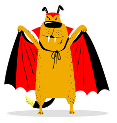 Halloween dog character in costume of vampire vector