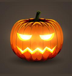 halloween pumpkin with glowing eyes on dark vector image