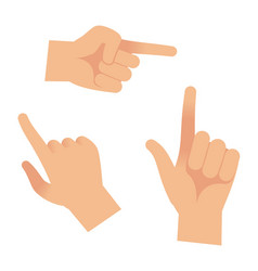 Hand in forefinger icons holding pointing hands vector