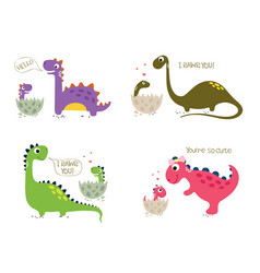Happy dinosaurs with baby dino sitting in eggs vector