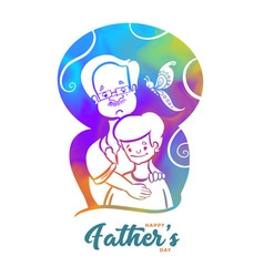 Happy father day wishes card with dad and son vector