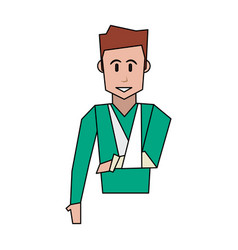 Happy man with injured arm icon image vector