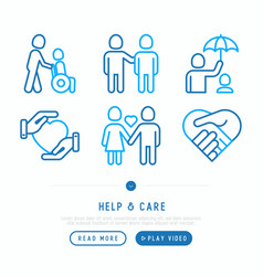 Help and care thin line icons set vector