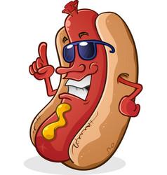 hot dog sunglasses cartoon character vector image