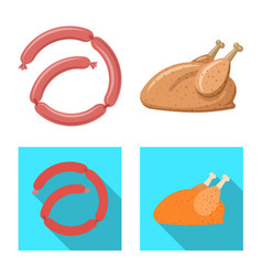Isolated object of meat and ham symbol collection vector