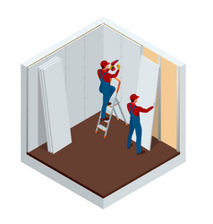 isometric man installing drywall gypsum panels vector image