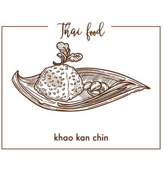 khao kan chin from traditional thai food vector image