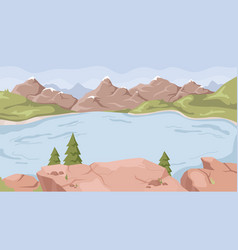 Landscape with lake river rocky mountains scenery vector