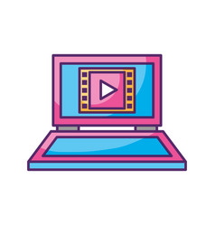 laptop with media player isolated icon vector image