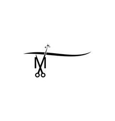 letter m with scissor vector image