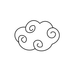 Line natural cloud with ornamental design vector