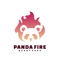 logo panda fire gradient colorful style vector image