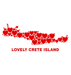 Love crete island map composition of hearts vector