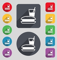 lunch box icon sign A set of 12 colored buttons vector image