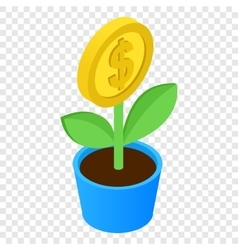 Money tree isometric 3d icon vector