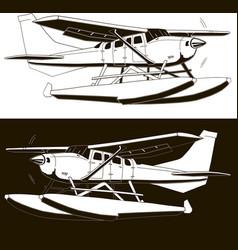Monochrome sketch a single-engine hydroplane 2 vector