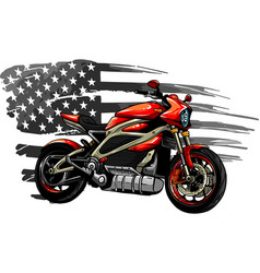 Motorbike with american flag vector