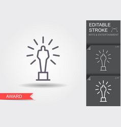 movie award line icon with editable stroke vector image