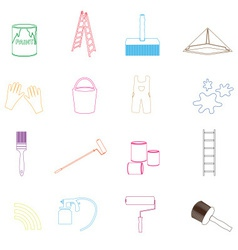 paint and room painter outline icons set eps10 vector image
