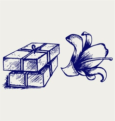 Pieces of natural soap with flower vector