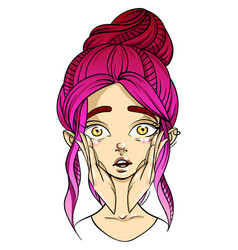pink-haired girl face surprise facial expression vector image