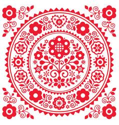 Polish folk art greeting card design vector