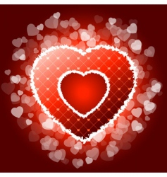 red valentines heart with sparkles vector image
