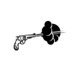 Revolver gun shoot vector