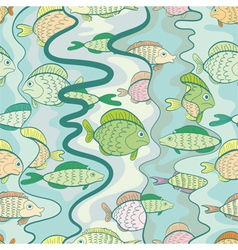 Seamless pattern of a colored fishes vector