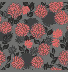 seamless pattern with stylized flowers on a gray vector image