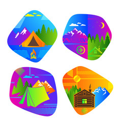 set bright colored logos for camping vector image