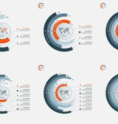 set circle infographic templates 3-8 options vector image