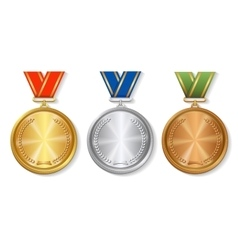 set gold silver and bronze award medals on vector image