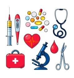 Set of medical icons isolated color sketch vector image