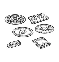 set storage media sketch vector image