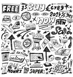 Shopping - doodles set vector
